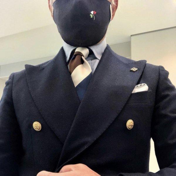 MUNGAI (ムンガイ)  マスク / ネイビー / イタリアンハートクローバー / ハンドメイド