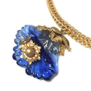 ブルーガラスの花 亀クラスプ チェーン 2905161300NE