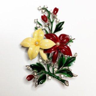 エナメル 赤黄花ブローチ