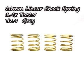 20mmリニアショックスプリング(4本)1.4xT5.25 T2.9 グレー TA323-N29
