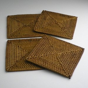 バリ アタ製 コースター 角型 4枚セット