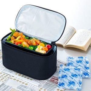 保冷 ランチバッグ お弁当箱用 2段用 ブラック NV-BL2