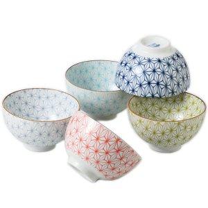 茶碗 ボウル 5個セット 美濃焼 日本の伝統柄 麻の葉 日本製