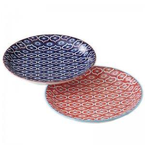 大皿 プレート ペア 美濃焼 日本の伝統柄 波七宝 日本製