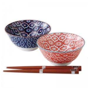 丼 ボウル ペアセット 美濃焼 日本の伝統柄 波七宝 日本製