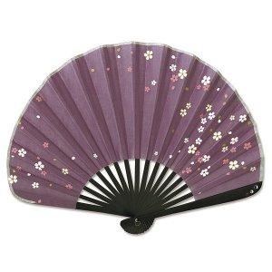 シェル型布 扇子 70型17間 さくら紫 女性用 綿