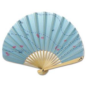 シェル型布 扇子 70型17間 金魚 水 女性用 綿