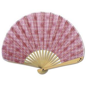 シェル型布 扇子 70型17間 七宝うさぎ 薄紅 女性用 綿