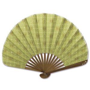 シェル型布 扇子 70型17間 七宝うさぎ 萌黄 男性用 女性用 綿