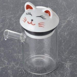 ガラス 波佐見 液だれしない 醤油さし 白猫 大