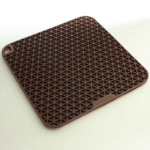 シリコン製 グリッド 鍋敷き チョコブラウン/ベージュ