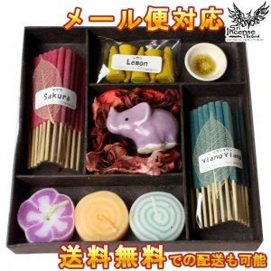 お香 ギフトセットA 香りが選べる コーン型 スティック型 香皿 アロマキャンドル インセンス