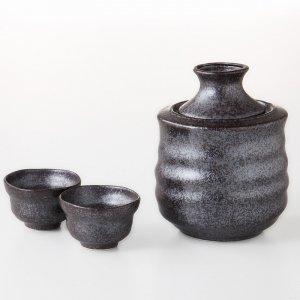 酒器 日本酒 酒燗器セット 大 黒結晶 3151-55-41
