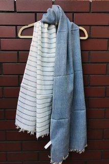 フェアトレード 手織りコットンストール(ブルー系)(送料無料)