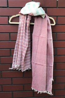 フェアトレード 手織りコットンストール(レッド系)(送料無料)
