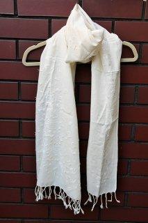 フェアトレード 手織りコットン手刺繍大判スカーフ(送料無料)