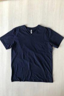 メンズ オーガニックコットン ネイビーVネックTシャツ(送料無料)