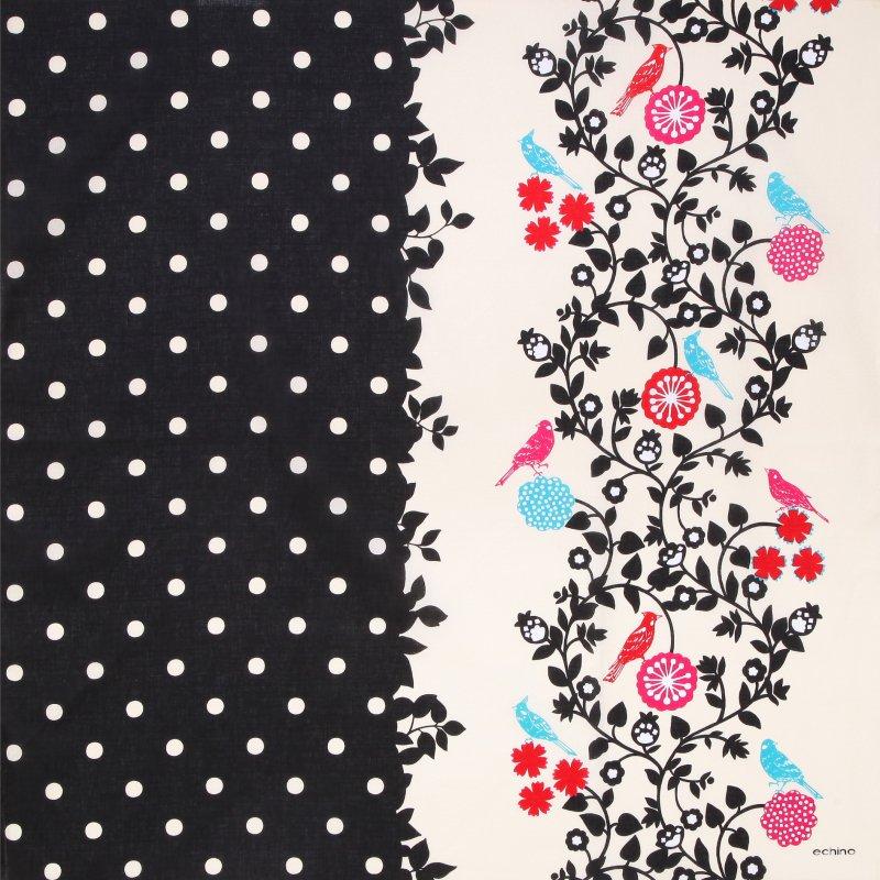 echino 綿二四巾ふろしき 97cm 止まり木 ブラック
