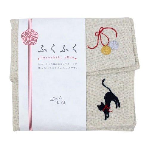 数量限定 50cm ふくふく刺繍 ネコと鈴 キナリ