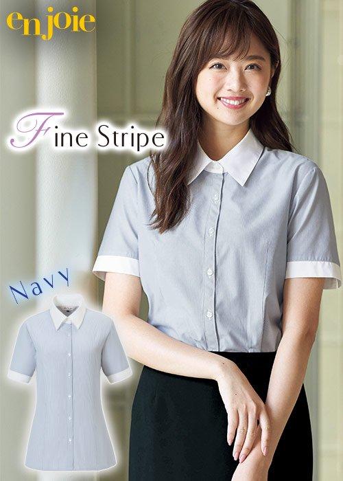 商品型番:06096 細かいネイビーストライプと高めでシャープな襟元がマニッシュな印象の半袖シャツブラウス ジョア 06096