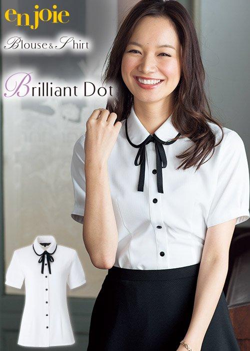 商品型番:06072|丸襟とリボンがかわいい華やかな半袖ブラウス≪リボン付≫|ジョア 06072