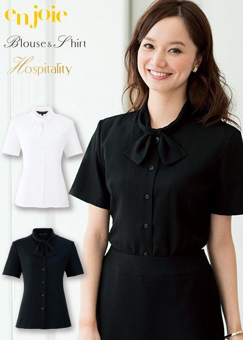 商品型番:06073|リボン風の襟が清楚な雰囲気の半袖ブラウス|ジョア 06073