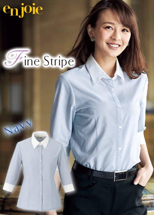ネイビーの細ストライプがかっこいい雰囲気の七分袖シャツ|ジョア 01096