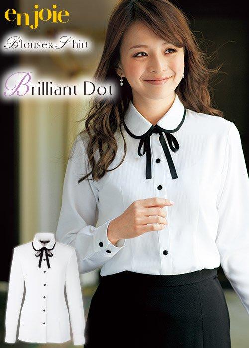 商品型番:1072| 丸襟とリボンがかわいい華やかな長袖ブラウス≪リボン付≫|ジョア 01072