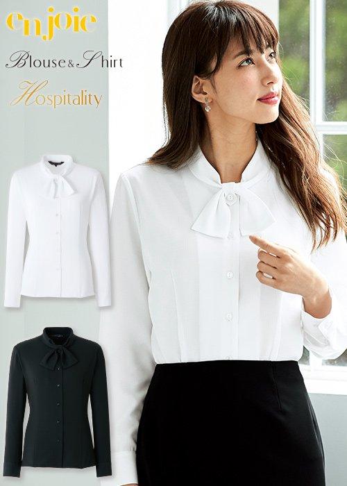 リボン風の襟が清楚な長袖ブラウス|ジョア 01073