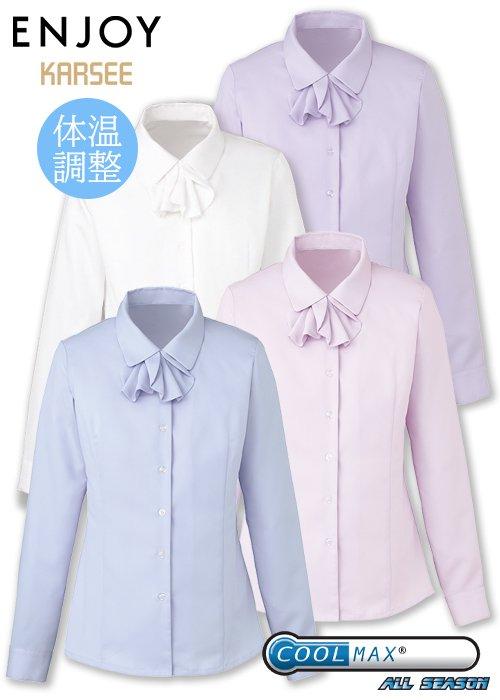 商品型番:EWB434|寒くても暑くても快適な着心地の有能リボンつき長袖ブラウス