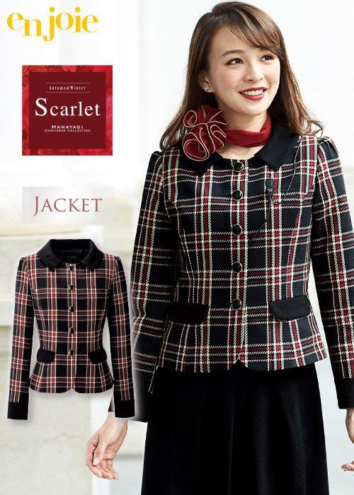 【人気】華やぎScarletシリーズ。鮮やかなチェック柄と個性的な襟が好感度大のジャケット|ジョア 81790