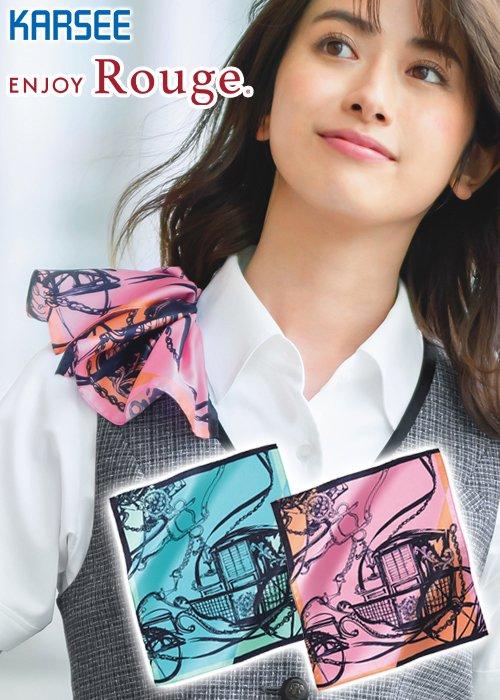 【スカーフループつきアイテム専用】手描きタッチ風がモダンな馬車柄のミニスカーフ|カーシーカシマ EAZ708