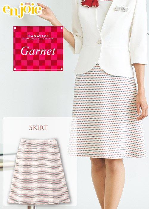 商品型番:56564|白地に赤と紺の格子でモダンな印象のフレアースカート|ジョア 56564