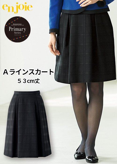 商品型番:51845|縦のラインを活かしたチェック柄のフレアースカート|ジョア|51845