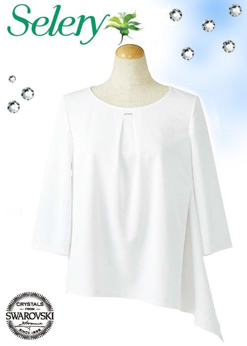 商品型番:S-37028| 【2020年春夏新作】胸元のクリスタルが煌めくアシンメトリーヘムのプルオーバー≪ホワイト≫|セロリー S-37028