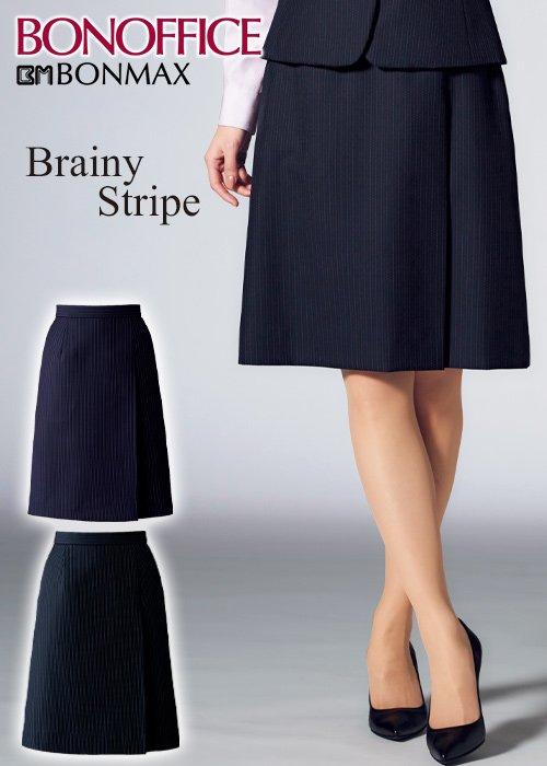 商品型番:AS2323| 【20-21年秋冬新作】ウール混の高級感。クールな美人ストライプのプリーツスカート|ボンマックス AS2323