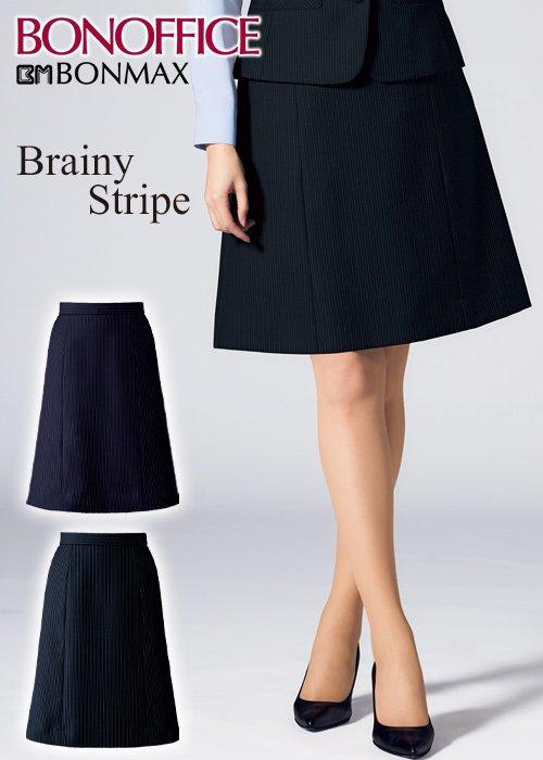 商品型番:AS2324| 【20-21年秋冬新作】きちんと感とクール見え。美人ストライプのAラインスカート|ボンマックス AS2324