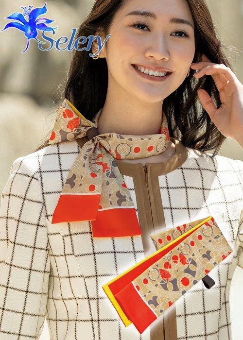 【20-21年秋冬新作】コントラストのある配色にレトロが香るスカーフ《ベージュ》|セロリー S-98311
