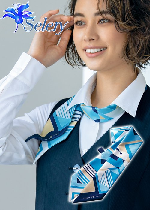 【ドラマ衣装】サックスとネイビーのスクエア模様のスカーフ《パトリックコックス》|セロリー S-98278