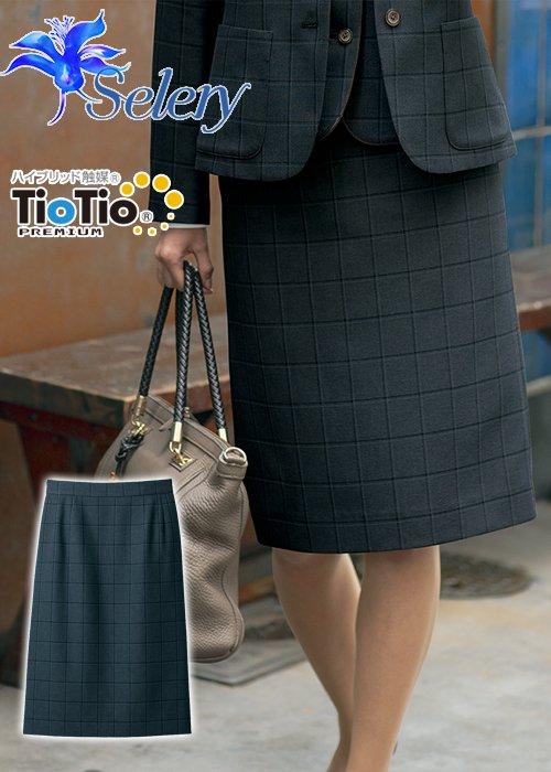 商品型番:S-16959|【TioTioプレミアム】小粋なトラッド・マスキュリンチェックのタイトスカート(グレー)|セロリー S-16959