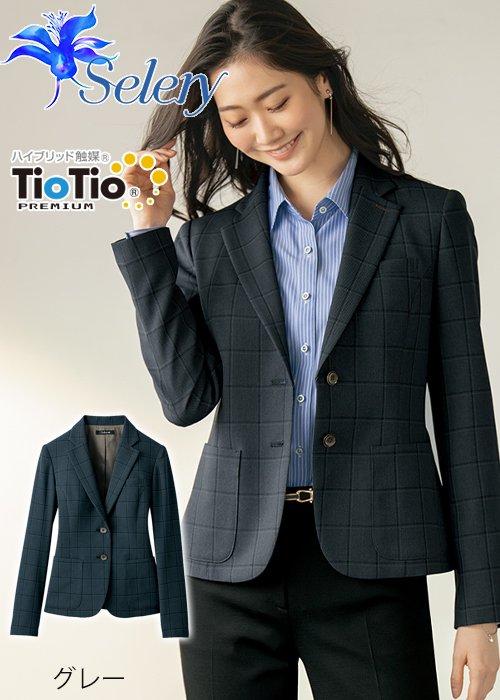 商品型番:S-24969|【TioTioプレミアム】マスキュリンチェックのテーラードジャケット(グレー)|セロリー S-24969