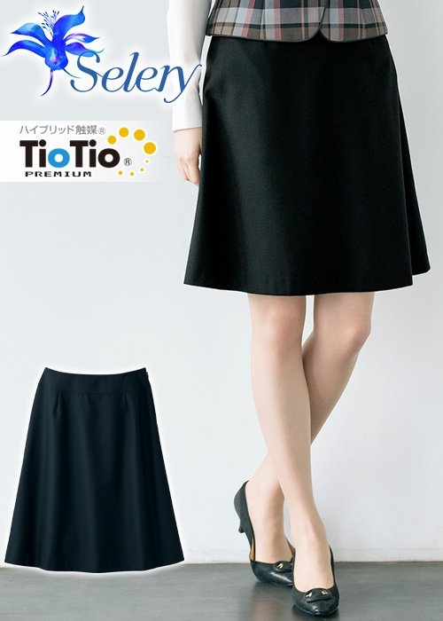 【TioTioプレミアム】抗菌・抗ウイルス加工のシンプルなAラインスカート(ブラック)《パトリックコックス》|セロリー S-16360