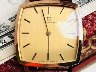 ZENITH ゼニス スクエア スター 14K 高級ブランドヴィンテージ腕時計Cal. P7001アンティークレトロ 手巻き メンズ z080901