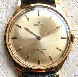 美品 ZENITH ゼニス【3ヶ月動作保証】OH&新品仕上済 高級感 シャンパンゴールド スモールセコンド アンティーク腕時計 手巻き 本革メンズz19072003