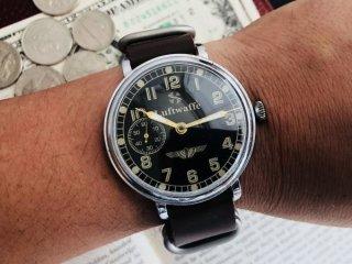 旧ソ連 USSR Molnija モルニヤ ミリタリーウォッチ パイロットヴィンテージ腕時計アンティーク ソビエト メンズ 手巻き 黒文字盤 SV072502