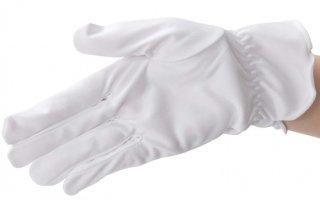 ギャザー付き マイクロファイバー宝飾手袋 ブラック/ホワイト S/Lサイズ