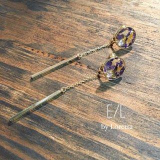 Flower chain stick pierce/earring(Purple)(0064)