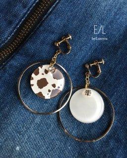 Dalmatian asymmetry big hoop pierce/earring(004603)