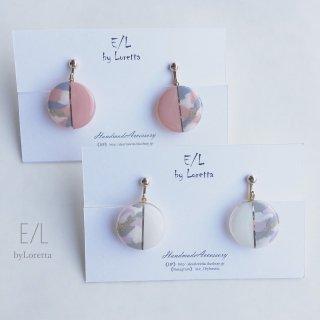 (全2色)Circle bi-color marble pierce/earring