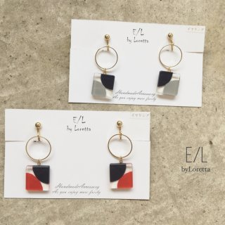 Square color hoop pierce/earring